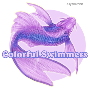 Colorful Swimmers Family Crest